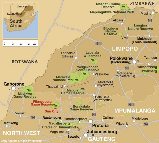 Pilanesberg Sun City African Pride - Map of south africa with cities