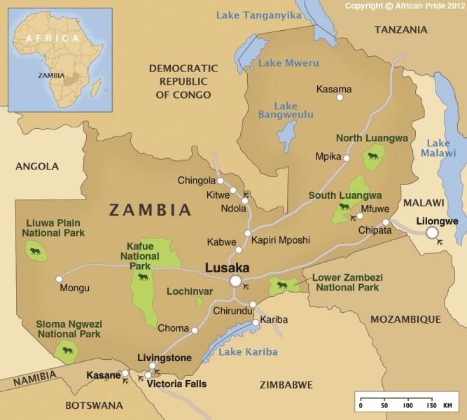 Zambezi River On Map Of Africa.Lower Zambezi African Pride
